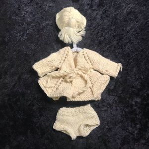 Vintage hand made baby doll clothes knitted